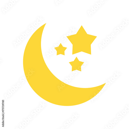 crescent moon and stars icon image vector illustration design  - 175724760