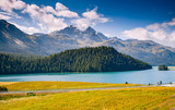 Great view of the azure pond Champfer. Location Swiss alps, Silvaplana village, district of Maloja, Europe.