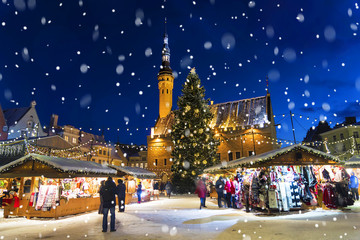 Christmas in Tallinn. Town Hall Square with Christmas Fair