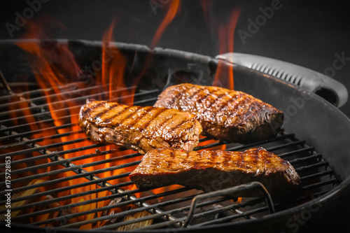 Delicious cooked meat on grill