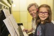 canvas print picture - Grandma and Kid Playing the Piano