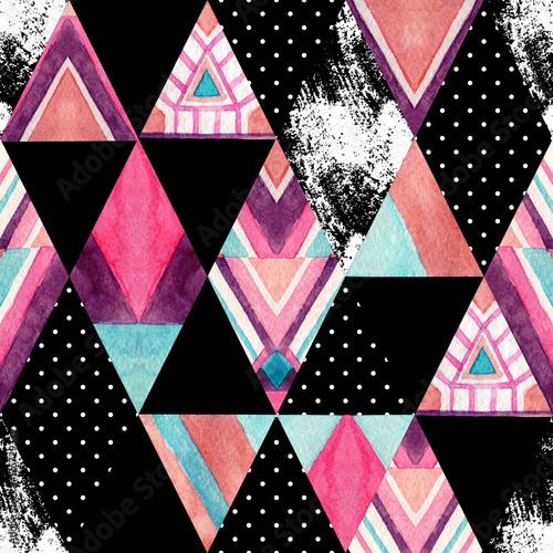 Watercolor ornate rhombuses seamless pattern. - 175729339