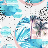 Watercolor tropical floral geometric shapes seamless pattern. - 175729925