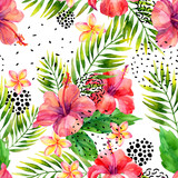 Watercolor tropical leaves and flowers arrangement background. - 175729967