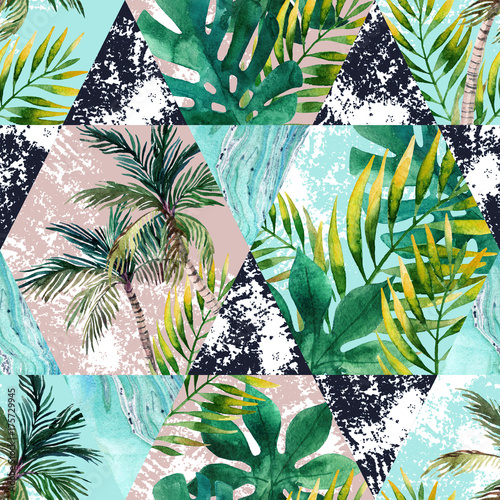 Watercolor tropical leaves and palm trees in geometric shapes seamless pattern - 175729945