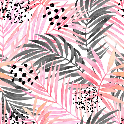 Watercolour pink colored and graphic palm leaf painting. - 175730314