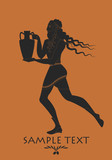 Bearded man with mane in the style of ancient Greece carrying amphora - 175732326