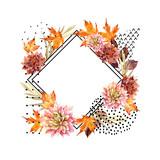 Autumn watercolor floral arrangement - 175733982