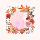 Autumn watercolor floral arrangement - 175733998