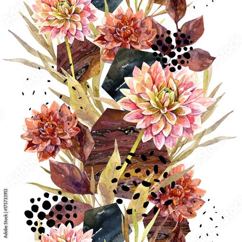 Autumn watercolor floral arrangement - 175733913
