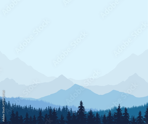 Aluminium Lichtblauw Panoramic view of winter mountain landscape with forest and with space for text, vector