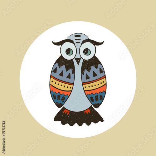 Fotobehang Uilen cartoon Boho collection with wild west owl