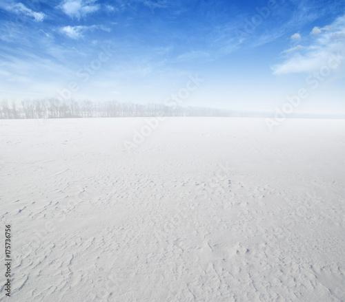 In de dag Blauwe hemel field of snow