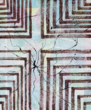 An abstract painting; Cracked Architecture, Maze with Broken Brushwork - 175738336