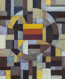 An abstract painting with subdued colour mosaic-like blocks - 175738395