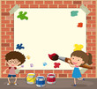 White paper template with boy and girl painting