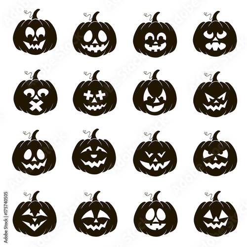 Vector set of silhouettes of Halloween pumpkins