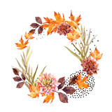 Autumn watercolor wreath on splash background with flowers, leaves, doted circles. - 175740789
