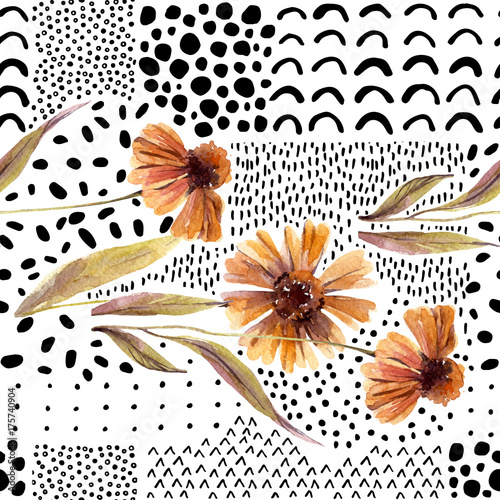 Autumn watercolor flowers on doodle background. - 175740904