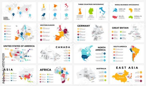 Vector map infographic. Slide presentation. Global business ... on