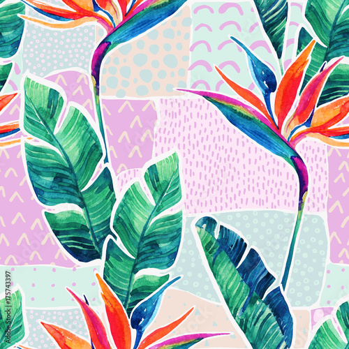 Watercolor tropical flowers on geometric background with doodles. - 175743397