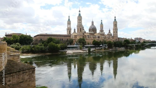 Autumn view of Cathedral in Zaragoza from Ebro river in day. Aragon, Spain
