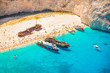 Quadro Shipwreck beach on Zakynthos island in greece