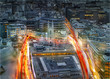 City of London at sunset and traffic blur lights on busy roads. Technology, transformation and innovation idea.  - 175747387