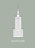 Simple minimalistic illustration of Warsaw's Palace of Culture and science (Palac Kultury i Nauki w Warszawie) - 175747730