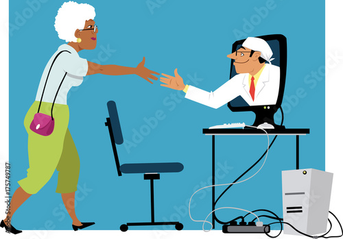 Papiers peints Echelle de hauteur Mature black woman shaking hands with a doctor, coming out of a computer monitor, EPS 8 vector illustration