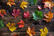 Quadro Autumn Leaves. Autumn colorful leaves on rustic wooden table