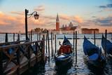 Gondola and San Giorgio Maggiore island sunrise - 175755915