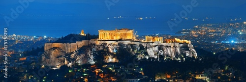 Poster Athene Athens skyline with Acropolis night