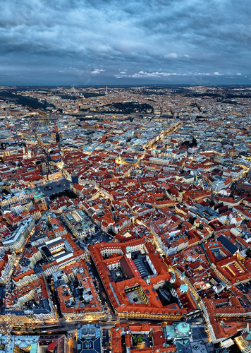 Staande foto Praag Historical centre of Prague. view from the height of bird flight
