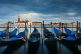 Gondola and San Giorgio Maggiore island overcast - 175760135