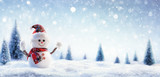 Snowman In Wintry Landscape
