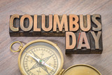 Columbus Day word abstract in wood type - 175761383