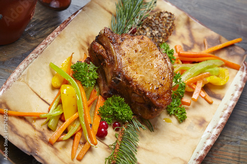 Foto op Aluminium Steakhouse pork with vegetables