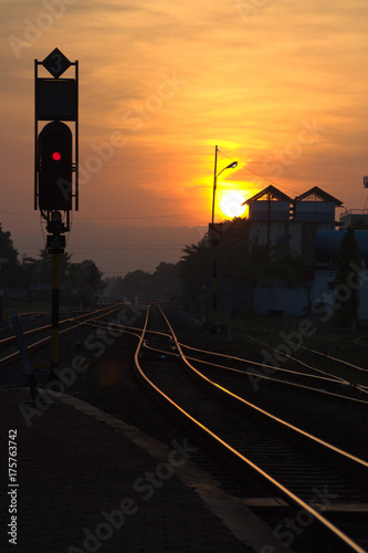 Foto op Aluminium Nacht snelweg Bahnhof