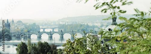Deurstickers Praag morgendliches prag, moldaubrücken, nostalgisch, panorama