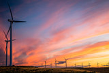 Wind mill turbines producing renewable energy at sunset. - 175768321