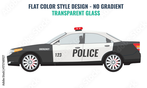 Aluminium Auto Police car side view. Flat and solid color vector illustration.