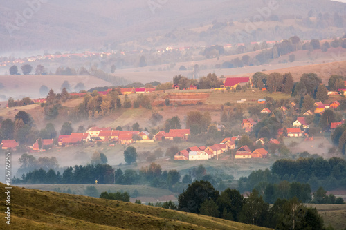 Foto op Plexiglas Bleke violet Romanian mountain landscape with fog and trees