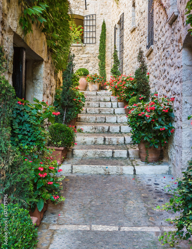 Fototapeta Narrow street in the old town in France.