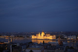 Night view of the building of the hungarian parliament in Budapest. - 175776131