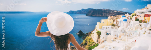 Luxury travel vacation woman in Santorini banner Poster