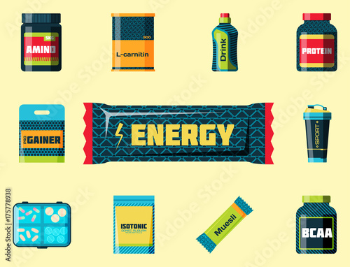 Sport nutrition healthy food fitness diet bodybuilding proteine power drink athletic supplement energy vector illustration.