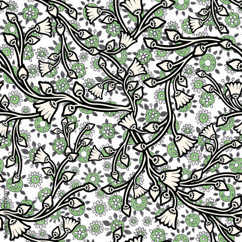 Hand drawn shabby floral seamless pattern for surface design, wrapping paper, fabric, background.High-resolution seamless texture - 175783975