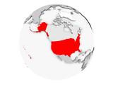 USA on grey globe isolated - 175785585