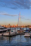 Power and sail boats docked on the Manhattan side of the Hudson River. The sun is rising and is hitting the buildings on the New Jersey side of the Hudson. There is a blue sky with pink clouds.